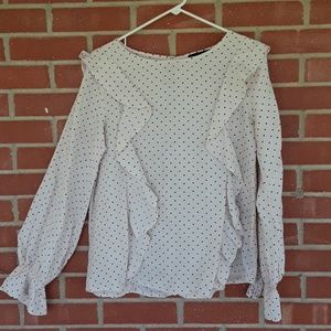 Sanctuary polka dot ruffle boho shirt size medium